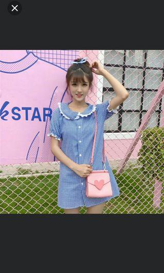 Instock Clearing Ruffle Collar Short Sleeve Mini Checkered Square Pattern Print Button Down Dress Ulzzang Blue