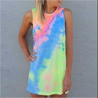 Instock Clearing Tie Dye Bright Pastel Colour Sleeveless T-Shirt Dress Summer Colourful Ulzzang