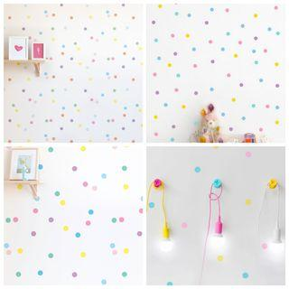 Mix 23 Rainbow Colourful Nordic ins Creative Circle wall sticker geometric polka dots photography background wall stickers Baby room children room girl princess bedroom bedside ornament ⭕Size 4cm $20=60pcs . $30=100pcs