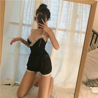 Instock Clearing Lace Floral Strap V Neck Top Shirt with Flower Pattern Short Pants Sleep Wear Pajamas 1 Piece Set Ulzzang Comfy Inner Intimate