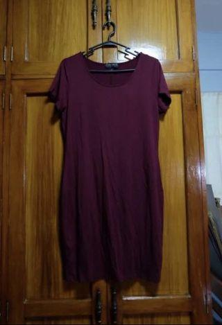 Forever 21 Plus Size Maroon T-shirt Dress