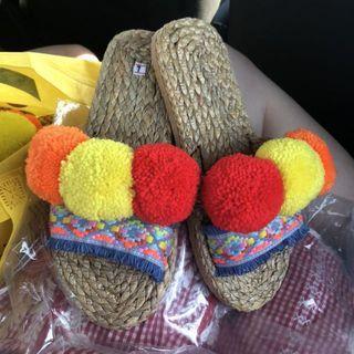 Pom Pom straw sandals flat flip flops mules slides slip ons pompom yarn handmade