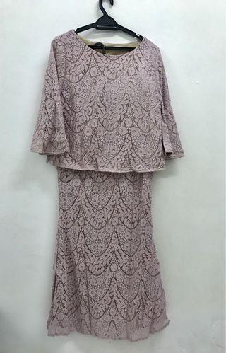 Lilac lace kurung kedah moden