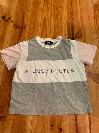 Stussy pink grey and white crop top size 6