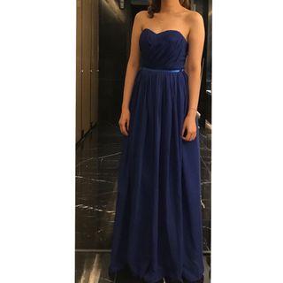 99%new 藍色晚裝裙 low cut  event dress
