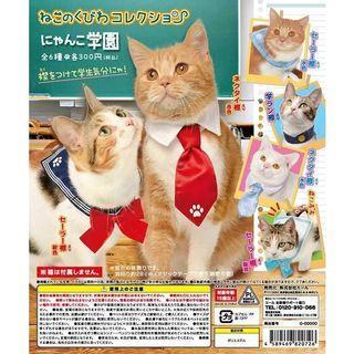貓 in 轉蛋公仔★YELL~貓咪領巾-喵喵學園篇 領帶款★貓咪頭套 寵物頭套 貓咪帽子 學生水手服 領結