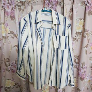 米白直條紋襯衫