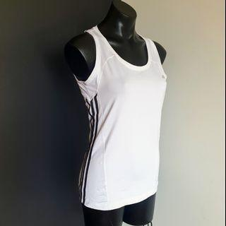 Women's size 16 'ADIDAS' Climacool gorgeous white black stripe activewear top - AS NEW