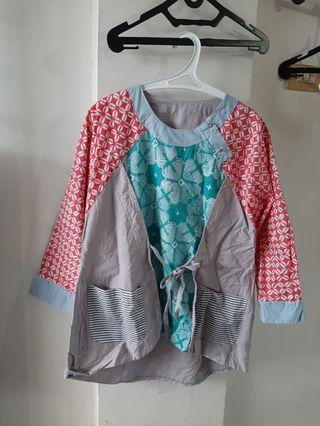 Blouse Batik Lengan Panjang Kombinasi Abu-abu