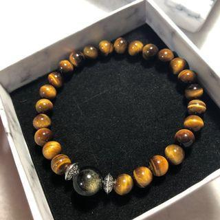 Tiger Eye+Obsidian Bracelet