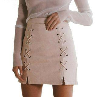 Preorder Suede Lace Up Skirt