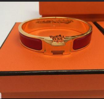 Hermes Red Clic Clac H in Gold Hardware Size PM - Full Set with receipt