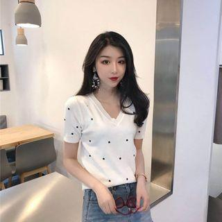 Korean polka dot knitted blouse : korea style brand new women fashion 2019 ulzzang harajuku loose knit v collar neck polka dot wave point student college wind short sleeve embroidery stitching top shirt basic minimalistic simple plain tee