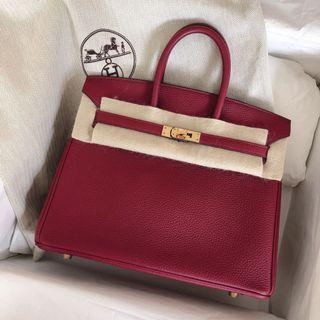 c5af1cf103f8 Almost New Hermes Birkin 25 Rouge Grenat Togo Ghw X stamp