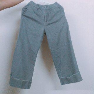 🚚 出清_灰色反摺鬆緊寬褲
