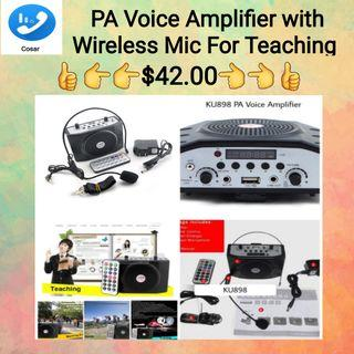 PA Voice Amplifier Booster With FM Wireless Microphone For Teacher , Tour Guide and Sales Promotion.