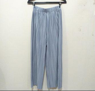 Silver Pleated Culotte Pants