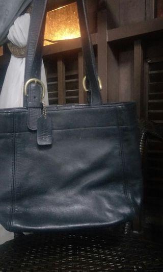 Authentic Black Leather Coach Handbag