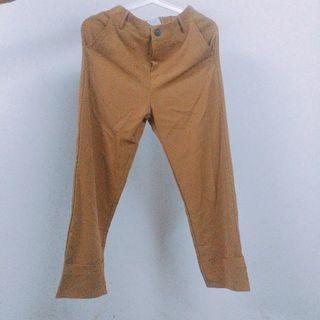 🚚 出清_土黃咖啡色西裝布料反摺寬褲