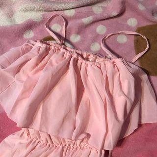 🚚 pink fluttering tie neck top