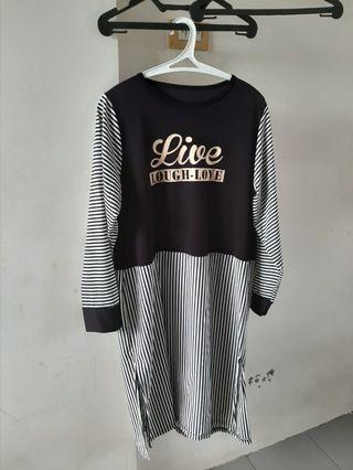BIG SIZE Tunik Stripe Black and White
