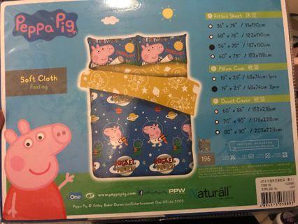 Peppa pig 雙人四呎半床笠連枕袋套裝 床單 床上用品