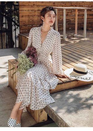 🚚 法式复古裙超仙點點蛋糕裙