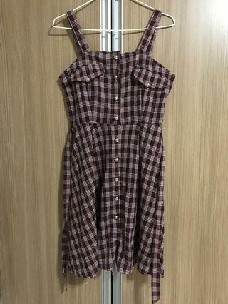 BNIP Checkered button up skirt in red