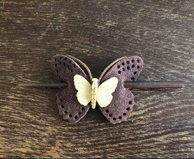 Real leather hair pin
