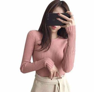 Korean round neck knitted Long sleeve sweater In pink