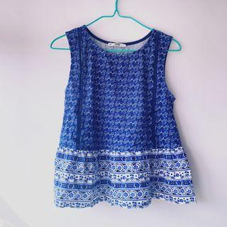 Mango blue print top