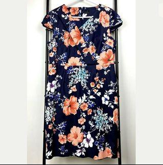 David Lawrence sz 16 navy pink floral dress casual work career party plus size