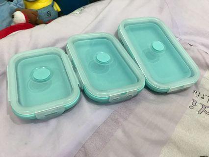 🚚 矽膠摺疊餐盒(3入)