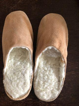 Real leather and sheep wool slippers . Size 37