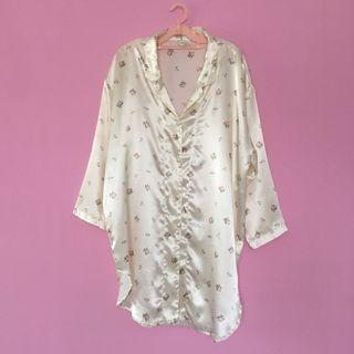 Cream floral satin nightie shirt