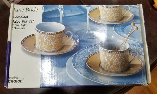 June Bride 杯碟套裝 tea set 一盒六套 杯+碟 全新