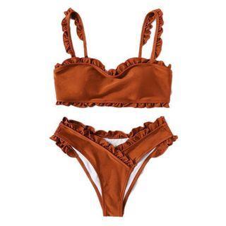 Beautiful Rust Frill Trim Top With Wrap Bikini Set Adjustable Straps Wire Free Swimsuit