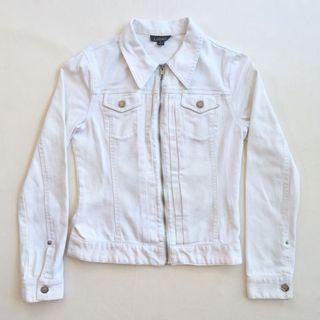 Ladakh white fitted stretch denim jacket
