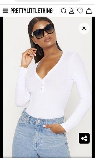 PLT BNWT White Long Sleeve Bodysuit