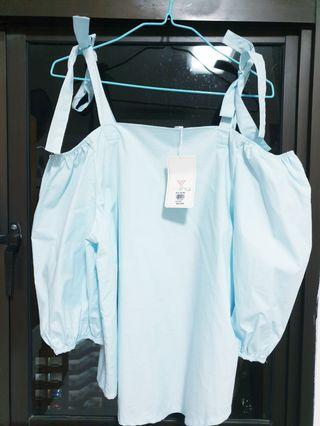 🚚 Blue Cold Shoulder Ribbon Top