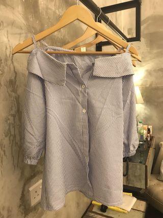 Blue white stripes blouse