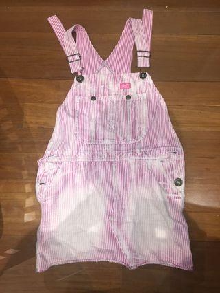 Pink denim overalls dress size 6