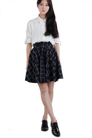 TTR Tristan A-line flare pleated skirt (Navy & white checks grid windowpane prints) | Clearance sales #juneholiday30