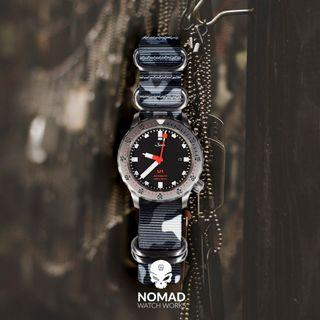 Heavy Duty Zulu Strap in Black Camo (Available in 20 and 22mm)