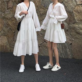 Trouble Double Frills Sleeve Dress