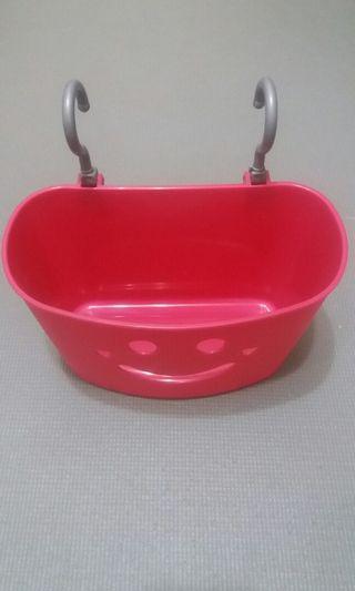 🚚 粉紅微笑收納掛籃
