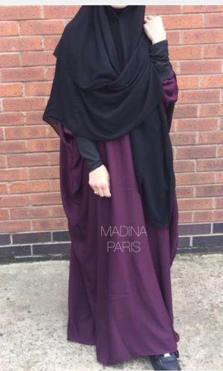 Preloved Madina Paris abaya papillon Noor in burgundy