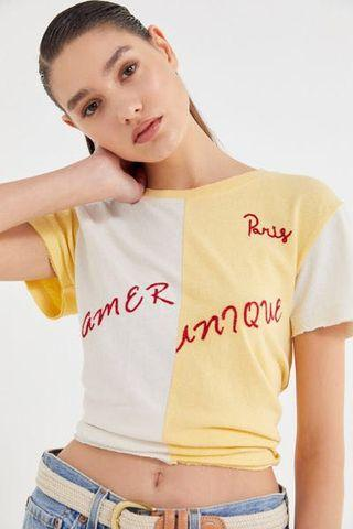 Urban Outfitters Yellow-White Paris T-Shirt