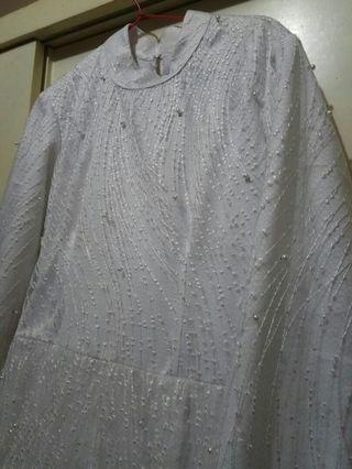 White dress combine brukat (baju princess)