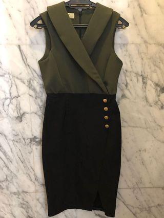 Vesper Olive Green & Black Dress